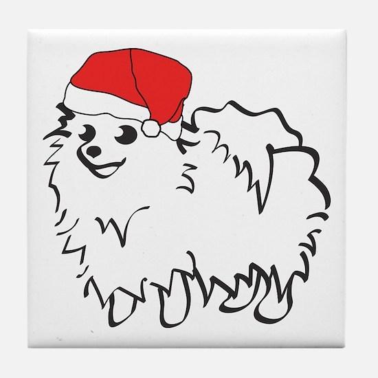 Santa Pomeranian Tile Coaster