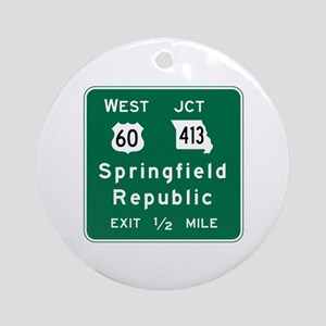 Springfield, MO Road Sign Round Ornament