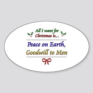 """Peace and Goodwill"" Oval Sticker"