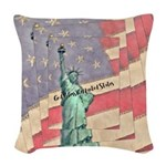 God Bless The United States Woven Throw Pillow