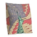 God Bless The United States Burlap Throw Pillow