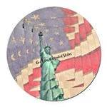 God Bless The United States Round Car Magnet