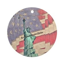 God Bless The United States Round Ornament