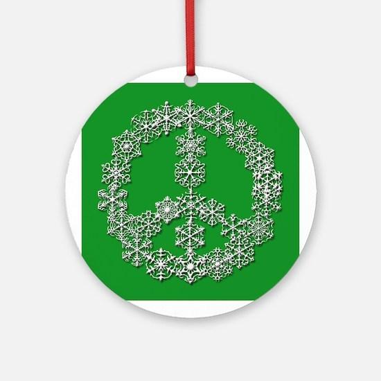 Green Snowflake Peace Symbol Ceramic Ornament