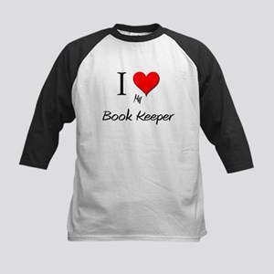 I Love My Book Keeper Kids Baseball Jersey