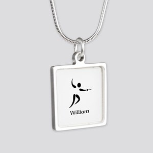 Team Fencing Monogram Silver Square Necklace