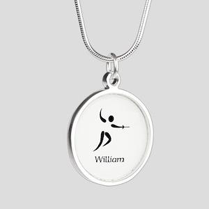 Team Fencing Monogram Silver Round Necklace