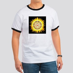 Aztec Sun Stone-Blk Sq Ringer T