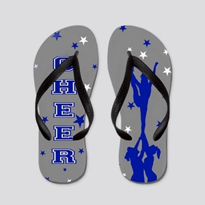 Blue and Gray Cheer Flip Flops