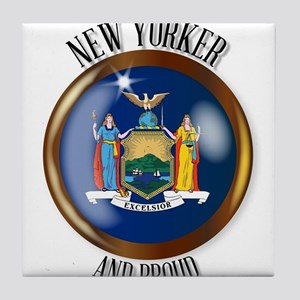 New York Proud Flag Button Tile Coaster