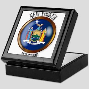New York Proud Flag Button Keepsake Box