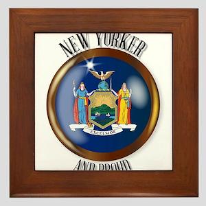 New York Proud Flag Button Framed Tile