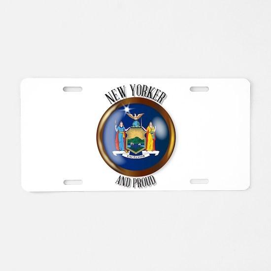 New York Proud Flag Button Aluminum License Plate