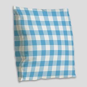 Blue Gingham Burlap Throw Pillow