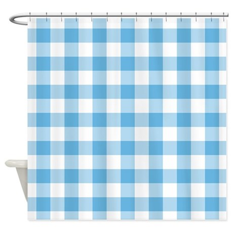 Blue Gingham Shower Curtain by decorativedecor