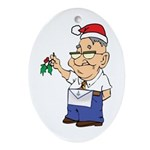Kiss a Mason Mistletoe Oval Ornament