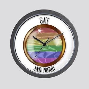 Gay And Proud Flag Button Wall Clock