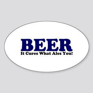 The Beer Cure Oval Sticker