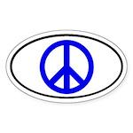 Blue Peace Symbol Oval Sticker
