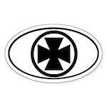 Iron Cross Chopper Oval Sticker