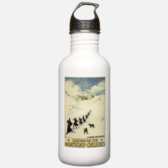 Monks Skiing Great St. Bernard Pass Water Bottle
