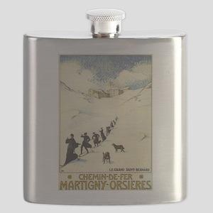 Monks Skiing Great St. Bernard Pass Flask
