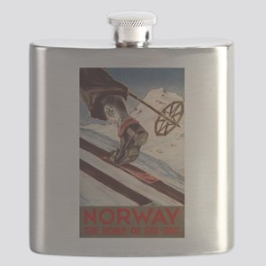 Norway - The Home of Skiing - Vintage Poster Flask