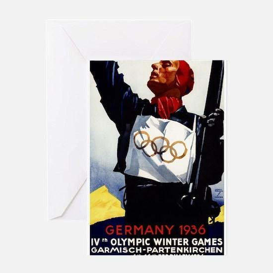 1936 Winter Olympics - Vintage Travel Poster Greet
