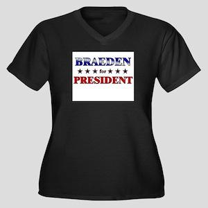 BRAEDEN for president Women's Plus Size V-Neck Dar