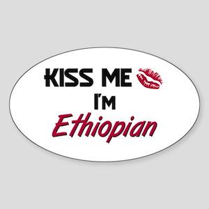 Kiss me I'm Ethiopian Oval Sticker