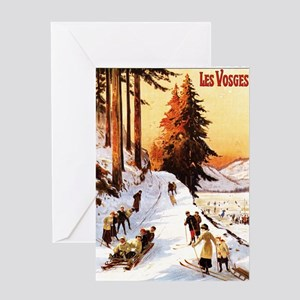 Vosges, France - Sledding & Skiing Greeting Cards