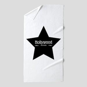 Hollywood California Black Star Beach Towel