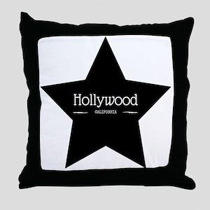 Hollywood California Black Star Throw Pillow