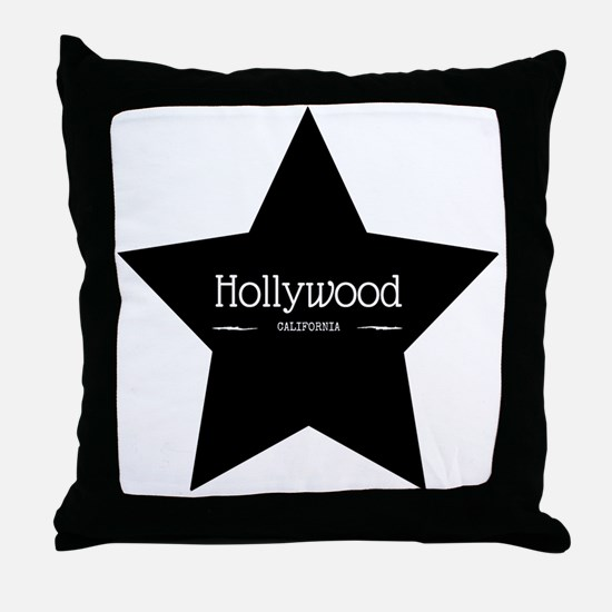 Hollywood California Black Star Throw Pillow