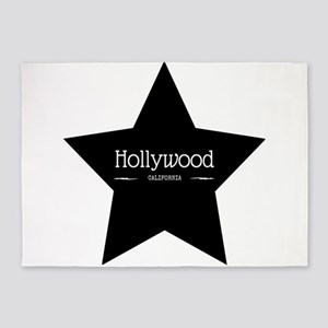 Hollywood California Black Star 5'x7'Area Rug