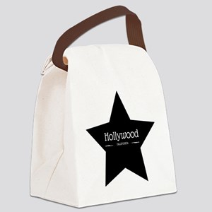 Hollywood California Black Star Canvas Lunch Bag