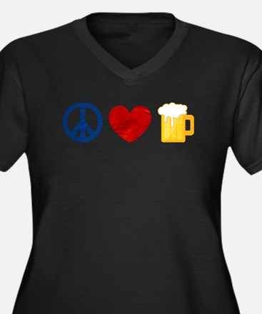 Peace Love Beer Plus Size T-Shirt