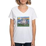 Lilies / Ragdoll Women's V-Neck T-Shirt