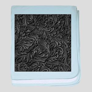 Black Flourish baby blanket