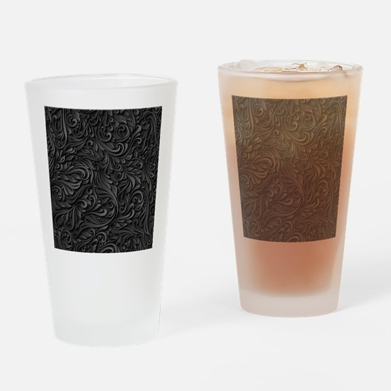 Black Flourish Drinking Glass