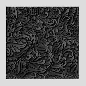 Black Flourish Tile Coaster