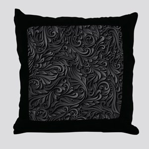 Black Flourish Throw Pillow