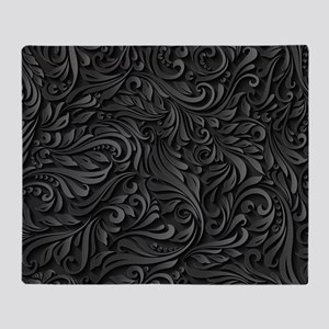 Black Flourish Throw Blanket