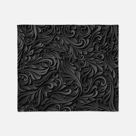 Black Flourish Throw Blanket