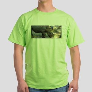 Rhino At Philadelphia Zoo Green T-Shirt