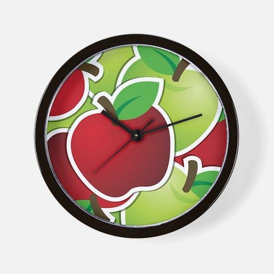 Funky mixed apples Wall Clock