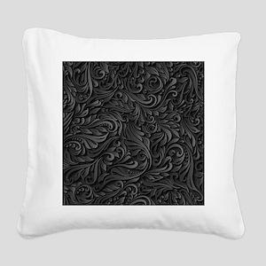 Black Flourish Square Canvas Pillow