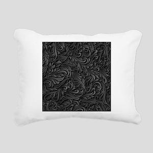 Black Flourish Rectangular Canvas Pillow