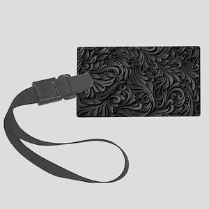 Black Flourish Large Luggage Tag