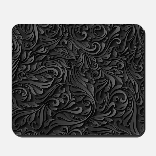 Black Flourish Mousepad